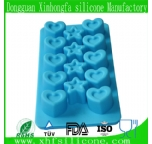 star with heart shape silicone ice cube tray